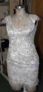 Lace over silk sheath