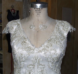 Close-up of neckline