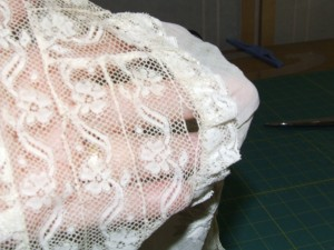 Here is one of the many rips in the lace I had to deal with.